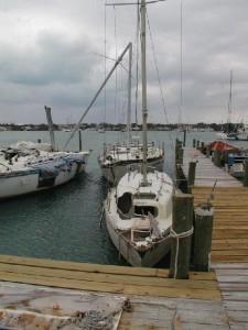 ugly sailboat and dock
